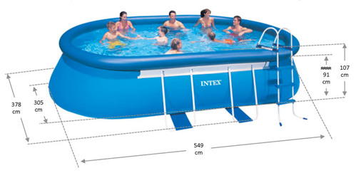 Intex oval frame pool formaten