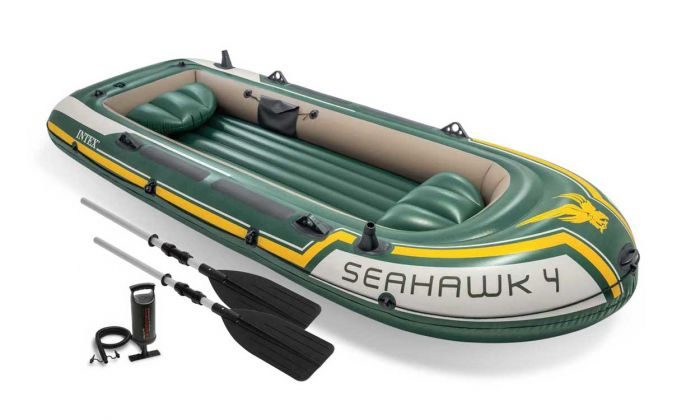 INTEX™-Opblaasboot---Seahawk-4-Set-(incl.-peddels-&-pomp)